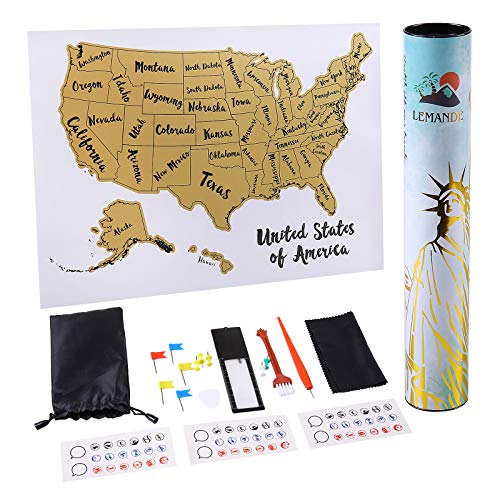 Scratch Off Map of The United States,12x17 Inches Travel Map Poster with 18 Accessories Set,USA Map -Great Gift for Travelers(No Pungent Taste)