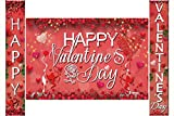 Rose Red Happy Valentine's Day Hanging Banner Porch Sign with Fabric Sign Poster Background Photo Booth Backdrop for Valentine's Day Party Decorations