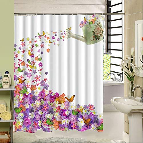 qhtqtt Duschvorhang, Der Eine Teekanne Voller Blumen Ist, Die Viele Schmetterlinge Anziehen 3D-Druck 180X180Cm A