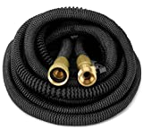 GrowGreen Heavy Duty Expandable Garden Hose, Strongest Garden Hose with Solid Brass Connector, Flexible Water Hose with Storage Sack (25 Feet)