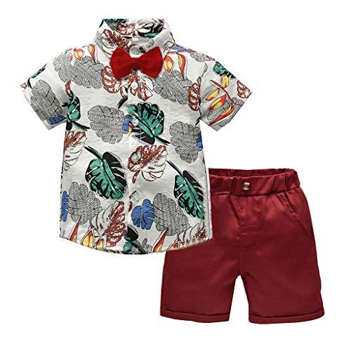 TTLOVE Kleinkind Baby Boy Bekleidung Kurzarm Fliege Gentleman Leaf T-Shirt Tops + Shorts Outfits,Jungen Kinder Sommer Kleidung Set Mode Kurze Und Hosen (Beige,90)