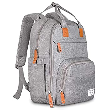 TETHYS Diaper Bag Backpack [Multifunction Waterproof Travel Back Pack] Maternity Baby Nappy Changing Bag Ideal for Mom and Dad Large Capacity and Stylish Organizer for Baby Care - Gray