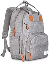 TETHYS Diaper Bag Backpack [Multifunction Waterproof Travel Back Pack] Maternity Baby Nappy Changing Bag Ideal for Mom and Dad, Large Capacity and Stylish Organizer for Baby Care - Gray