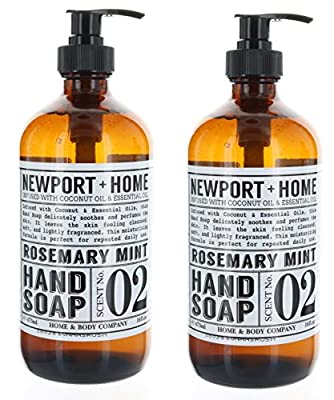 2 Bottles, Newport + Home Hand Soap, Rosemary Mint 16 oz, Infused w/Coconut Oil & Essential Oil by Home and Body Co