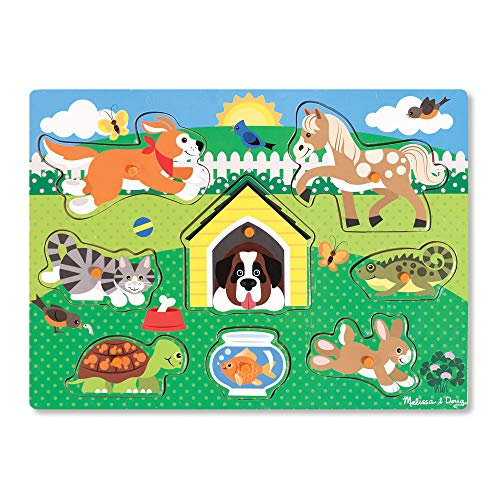 Melissa & Doug Wooden Peg Puzzle - Pets | Puzzles | Wood | 2+ | Gift for Boy or Girl