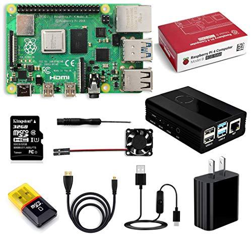 Raspberry Pi 4 Model B 4 GB キット-ラズベリーパイ 4/ 冷却ファン アルミニウム合金ケース/ 5V/3Aスイッ...