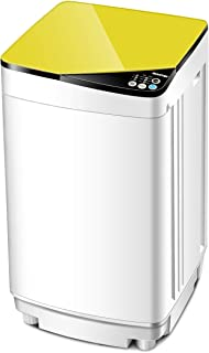 Giantex Full-Automatic Washing Machine Portable Washer and Spin Dryer 10 lbs Capacity Compact Laundry Washer with Built-in Barrel Light Drain Pump and Long Hose for Apartments Camping (White & Yellow)