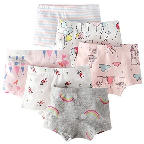 Mädchen Cartoon Boxershorts Süß Baumwolle Pantys Unterhose Kinder Elastische Bequeme Unterwäsche(Eine Packung von 6 Stücke) M