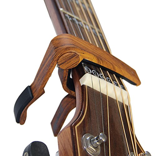 Guitar Capo for Acoustic Guitar and Electric Guitars - Quick Change Clamp Capo for Ukulele and Banjo, Rosewood Color