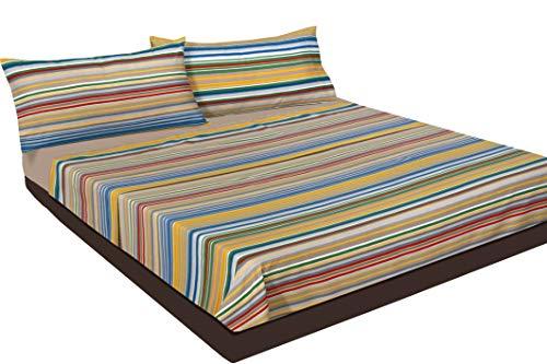 Montse Interiors, S.L. Juego de sábanas Estampado Rayas de Colores (sín Bajera) (Dubai, para Cama de 105x190/200)