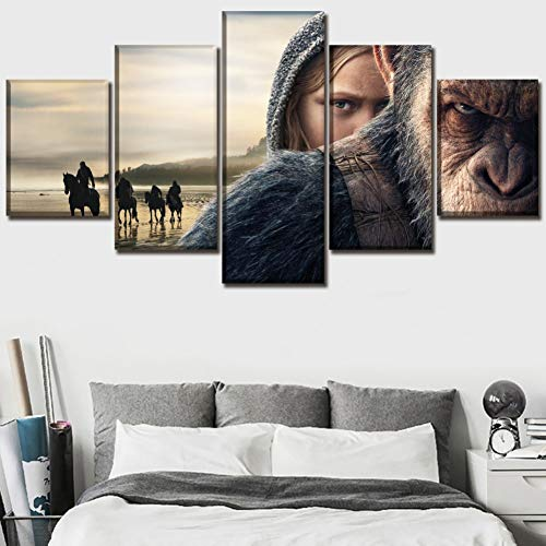 Eotifys Leinwanddrucke Moderne Cnavas Print Wall Art modulares Bild 5 Stück der Planet der Affen Poster Home dekorative Schlafzimmer