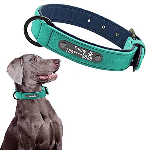 CHMEYUN Collar Perro, Collar de Perro Acolchado de Cuero, Ajustable,Perros pequeños, medianos y Grandes