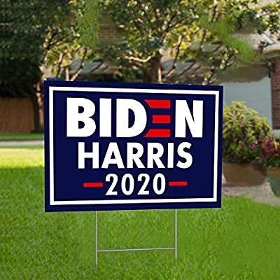 """Lapogy Biden/Harris for President 2020 Yard Signs with H-Frames 12""""x 18"""" (Harris Logo) Political Campaign Yard Sign (Double-Sided Sign Outdoor, Weatherproof)"""