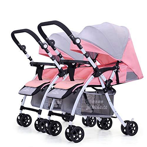 JCOCO Poussette de jumeau de bébé, double chariot infantile détachable inversant la poignée pliable légère de chariot de bébé réglable réglable (Couleur : Pink+gray)