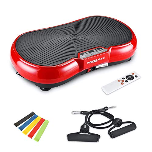 Vibration Plate Machine, Whole Body Fitness Vibration Platform with Remote Control and Resistance Bands for Weight Loss Toning (Red) by Wonder Maxi