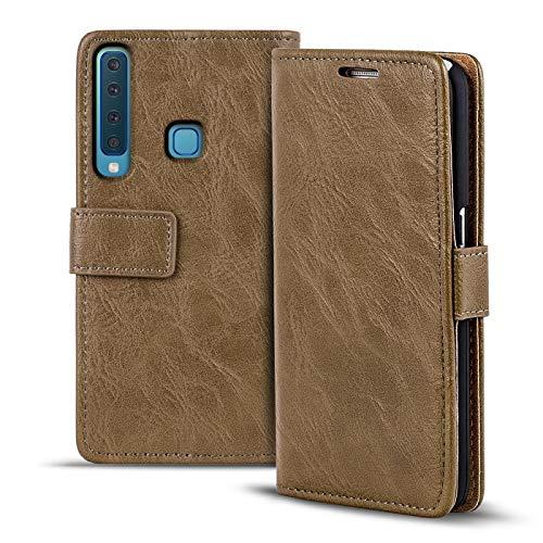 Verco Galaxy A9 (2018) Hülle, Premium Handy Schutzhülle für Samsung Galaxy A9 Hülle PU Leder Wallet Tasche Retro Flipcase, Mocca