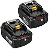 2-Pack 6.0Ah Replacement Battery Compatible with Makita 18V Battery BL1860B Lithium-ion BL1860 BL1850 BL1840 BL1830 BL1850B-2 BL1845 BL1815 BL1820 LXT-400 18-Volt Cordless Power Tools Batteries