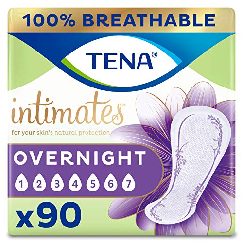 TENA Intimates Overnight Absorbency Incontinence/Bladder Control Pad with Lie Down Protection 90 Count Packaging May Vary