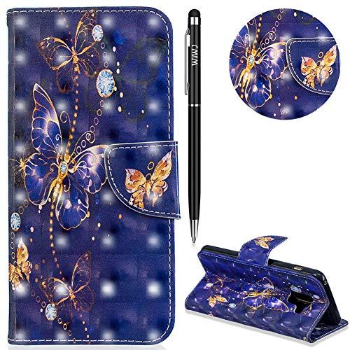 WIWJ Schutzhülle für Galaxy A8 2018 Handyhülle Leder Case Lederhülle Flip Wallet Cover [3D lackierte Halterung Ledertasche] Handyhüllen für Samsung Galaxy A8 2018 Hülle-Lila Schmetterling