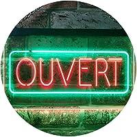 Ouvert Open Shop Bar Club Restaurant Décor Dual Color LED看板 ネオンプレート サイン 標識 緑色 + 赤色 400 x 300mm st6s43-i3210-gr