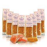 Antico Pastificio Morelli 1860 Srl Tagliolini Al Salmón, Pasta Italiana De Sémola De Trigo Aromatizada - Lote De 8 x 250g