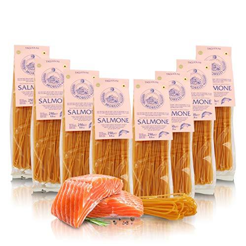 Antico Pastificio Morelli 1860 Srl Tagliolini al Salmone, Pasta aromatizzata, 8 Confezioni da 250 Grammi