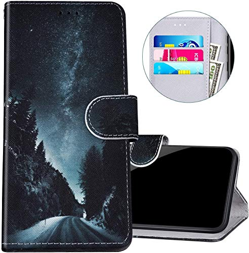 Felfy Kompatibel mit Huawei Honor 8X Hülle Bunte Painted Muster Schutzhülle,Handyhülle für Huawei Honor 8X PU Lederhülle Magnet Klapphülle Tasche mit Kartenfach/Standfunktion - Sternenhimmel
