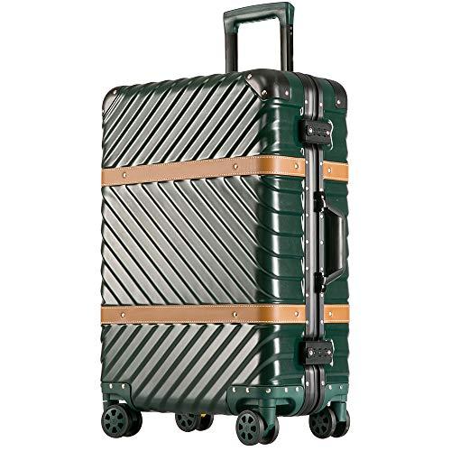 [トラベルハウス] Travelhouse スーツケース キャリーケース TSAロック 半鏡面 傷が目立ちにくい ストッパー付き アルミフレーム おしゃれ レトロ 5色3サイズ(一年間保証) (ブラックグリーン, XL)