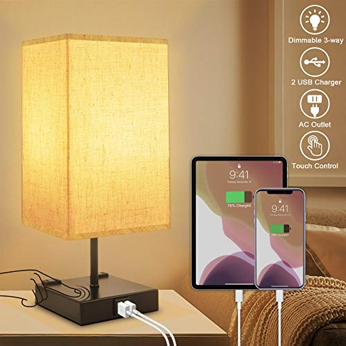 3-Way Dimmable Touch Control Table Lamp with 2 USB Charging Ports,2 AC Outlets Nightstand Lamp,Winshine Minimalist Bedside Lamp for Bedroom,Square Fabric Linen Lampshade,E26 Base LED Bulb Included
