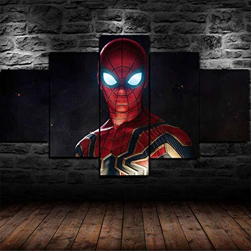 AWER 5 piezas de lienzo de arte de pared Superhéroe Imágenes Póster Impresión En Hd Estilo Abstracto Cuadro decoración Estilo Piasaje Regalo marco de madera 5 Piezas