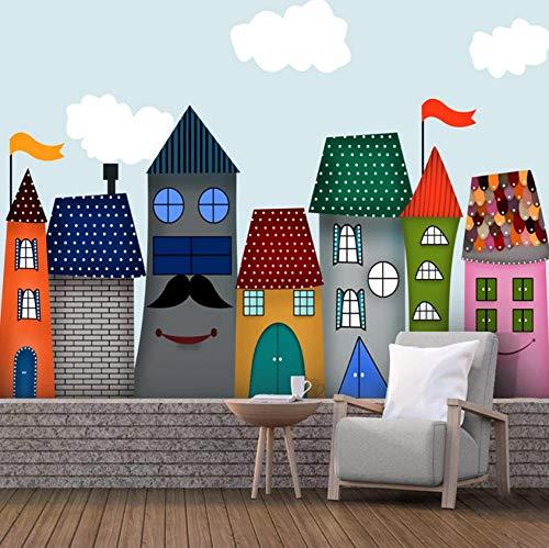 Pbbzl Cartoon Kasteel Op maat 3D Fotobehang voor Kinderkamer Kleuterschool Babykamer Slaapkamer Wanddecoratie Muurschildering 3D 280 x 200 cm.