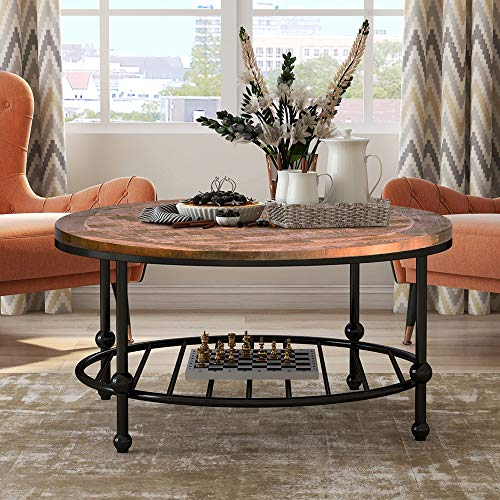 P PURLOVE Round Coffee Table Rustic Style Living Room Table Home Table with Storage Shelf Metal Frame Easy Assembly (Distressed Brown and Black)