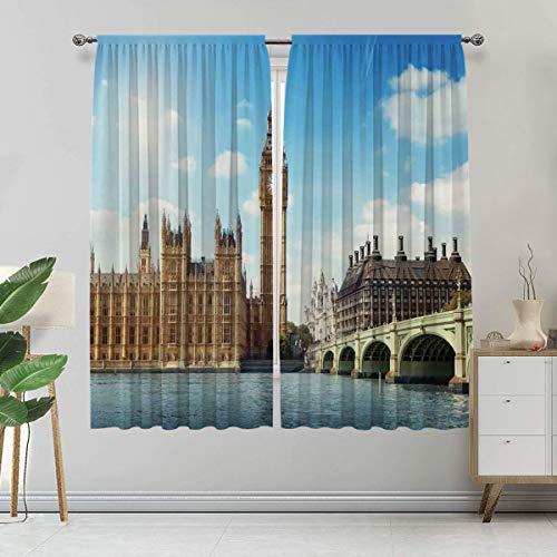 Alandana London - Cortina hecha a medida, paisaje de Big Ben Westminister Brigde Thames River y Casas del Parlamento, 2 paneles, cada panel de 152 cm de ancho x 228 cm de largo, azul y marfil