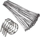 Biggroup - 100 bridas de acero inoxidable para cables (7,9 x 300 mm)