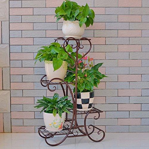 Fu Man Li Trading Company Ensemble de fleurs en fer de style européen Balançoire de plancher à plusieurs étages Escalier de salon intérieur Porte-fleurs de radis vert A+ (Couleur : Bronze)