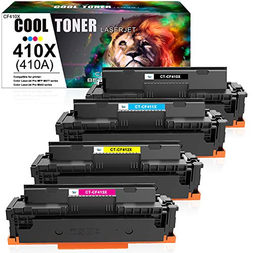 Cool Toner Compatible Toner Cartridge Replacement for 410X 410A CF410A HP Color Laserjet Pro MFP M477fnw M477fdw M477fdn M452dn M452dw M452nw M477 M452 Toner Ink (Black Cyan Yellow Magenta, 4-Pack)