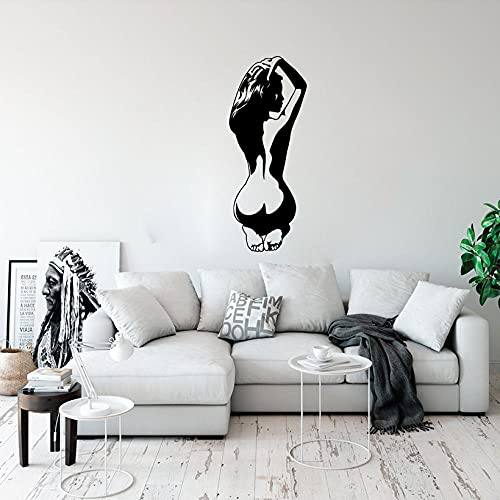 NSDQSM Gran Tamaño De La Moda Femenina Sexy Baño Pegatina Dormitorio Masculino Y Femenino Calcomanía De La Pared De La Flor De La Boda Decoración De Vinilo - 75cm De Alto X 30cm De Ancho