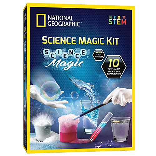 NATIONAL GEOGRAPHIC Magic Chemistry Set - Perform 10 Amazing Easy Tricks with Science, Create a Magic Show with White Gloves & Magic Wand
