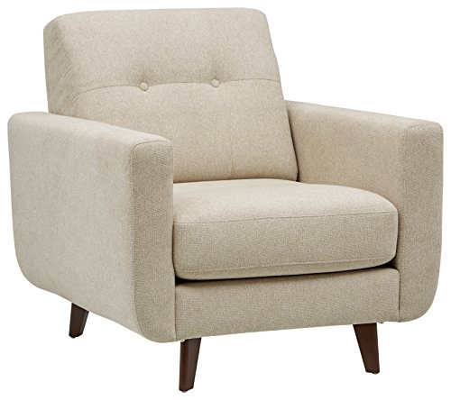 Marca Amazon -Rivet Sloane - Butaca capitoné de diseño estilo Mid-century Modern (marfil)