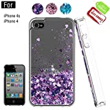 Atump Coque iPhone 4, Coque iPhone 4S avec Protecteur d'écran, Diamant Liquide Paillette Transparente 3D Silicone Gel Antichoc Kawaii Étui Fille Personnalisé pour iPhone 4 / 4S Purple