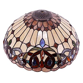 Tiffany Lamp Shade Replacement W16H7 Inch Stained Glass Serenity Victorian Lampshade for Table Lamps Floor Lamp Ceiling Fixture  3 Hooks  Pendant Hanging Light S021 WERFACTORY Home Office Decoration