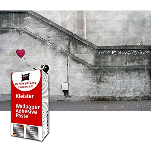 Papel tapiz fotográfico Decoración de pared Banksy Balloon Girl - Hope Street Art Mural Globos 210 x 140 cm - Papel Pintado 5 piezas incluye pasta
