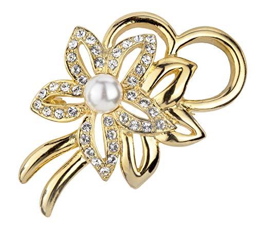 Traveller Broche chapado en oro de 22 quilates con perla blanca – 157364