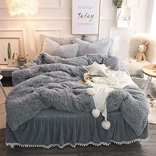 jennifer lopez egyptian cotton sheets Grey Plush Shaggy Duvet Cover Queen 3 Pieces Fluffy Bedding Comforter Cover (1 Faux FurDuvet Cover + 2 Pillow Shams) Luxury Ultra Soft Crystal Velvet Bedding Set with Zipper Closure 90