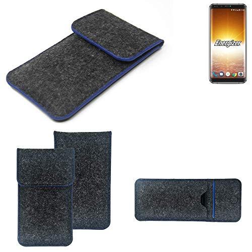 K-S-Trade Handy Schutz Hülle Für Energizer P600S Schutzhülle Handyhülle Filztasche Pouch Tasche Hülle Sleeve Filzhülle Dunkelgrau, Blauer Rand
