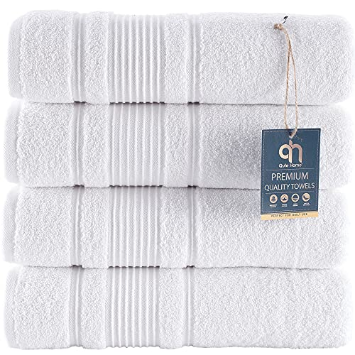 Qute Home 4-Piece Bath Towels Set, 100% Turkish Cotton Premium Quality Towels for Bathroom, Quick Dry Soft and Absorbent Turkish Towel Perfect for Daily Use, Set Includes 4 Bath Towels (White)