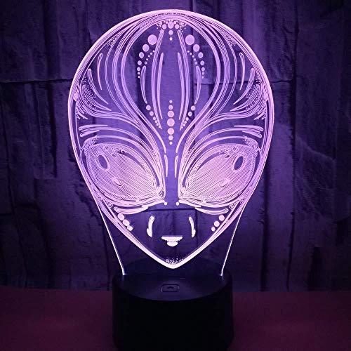 lámpara de ilusión 3D lámpara para habitación infantil Alien Decoración Del Hogar Regalo De Cumpleaños Para Niños Habitación De Niños Con interfaz USB, cambio de color colorido