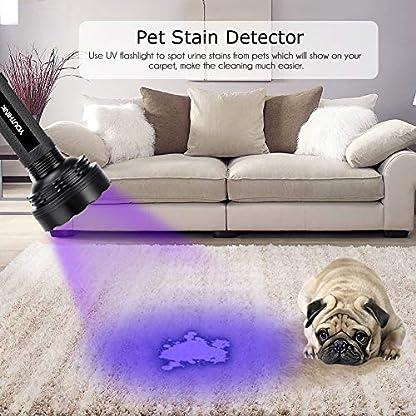 YOUTHINK UV Torch, 100 LED UV Flashlight with UV Protection Glasses, 395nm Upgraded 100 LED Flashlight Black Light Ultraviolet Lamp, Dog Cat Urine Detector, for Carpet/Floor 5