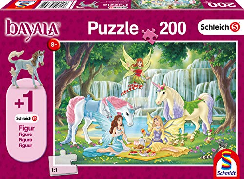 Schmidt Spiele- Schleich Bayala - Puzzle Infantil (200 Piezas), diseño de pícnic de los Elfos, Color carbón (56304)