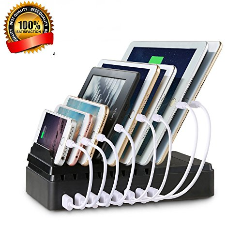 EReach 6-Port 8-Port USB Charging Station Quick Charging Docking Station with Cord Organizer for Smartphones and Tablets (Black) (8-Port)